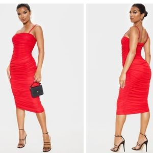 RED STRAPPY MESH RUCHED MIDAXI DRESS